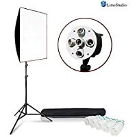 LimoStudio 5 Slot Bulb Socket Head with 24 x 36 inch Soft Box, 5-Pack 45W CFL Photo Bulb, 90 inch Max Height Light Stand Tripod, and Carry Bag, Photo Video Studio Lighting Kit, AGG2276