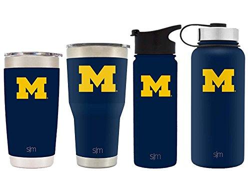 Simple Modern 18oz Summit Water Bottle - Michigan Wolverines Vacuum Insulated 18/8 Stainless Steel Travel Mug - Michigan