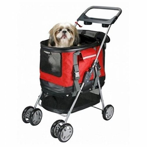 Cheap PetZip Outdoor Travel Deluxe 3 In 1 Dog Pet Stroller Carrier Car Seat Red