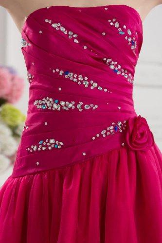 Rot Abendkleider BRIDE Elegantes Details Perlen mit Kurze GEORGE wq08ngU6U