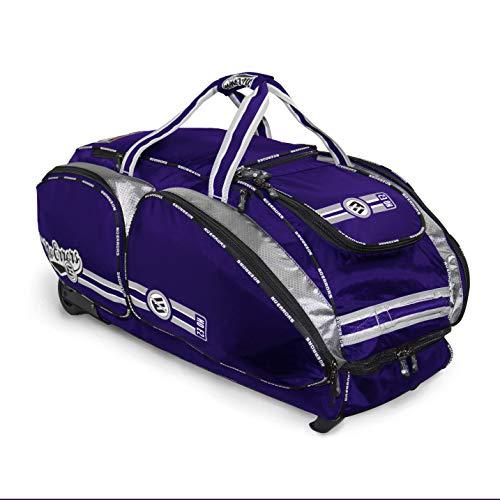 NO Errors NO E2 Catchers Bag with Fatboy Wheels - Wheeled Baseball Equipment Gear & Helmet Bags (Purple)