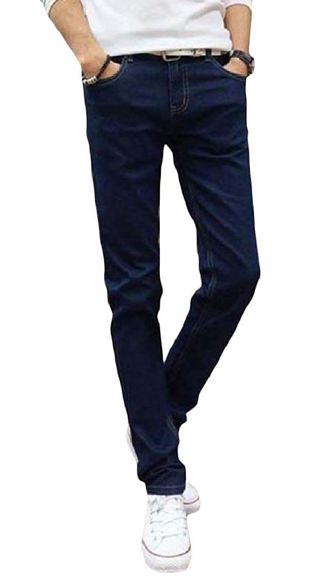 Freely Mens Pocket Mid Waist Leisure Solid Plus-Size Stretch Fitness Trouser Jean