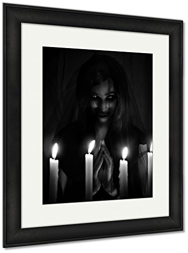 Ashley Framed Prints Salem Witch Invoking Demons Into The Churc On Halloween, Wall Art Home Decoration, Black/White, 30x26 (frame size), Black Frame, AG6085801 by Ashley Framed Prints