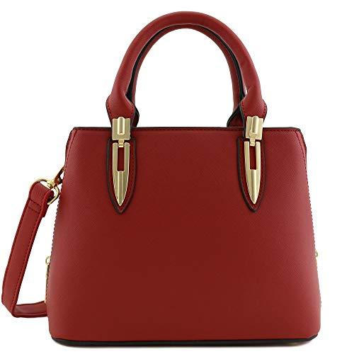 Expandable Mini Satchel Top Handle Saffiano Bag with Shoulder Strap Red