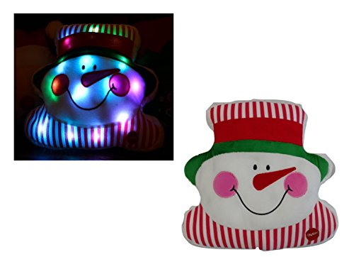 Tache Festive Winter Holiday Christmas Red Santa Claus Snowman Stocking Reindeer Decorative Pillows with LED Light (Snowman)]()
