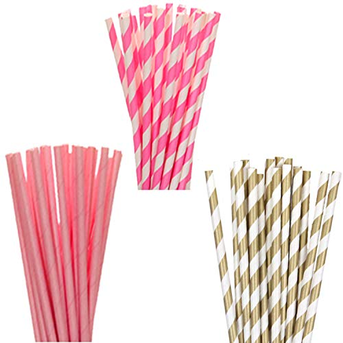 Patel Pink White Stripe Paper Straw | Pack of 60, 8 inch | 20 Pack Each Design Pink, White & Pink, White & Gold | Great for Kids Birthday Party, Baby Shower, Picnics, Schools ()