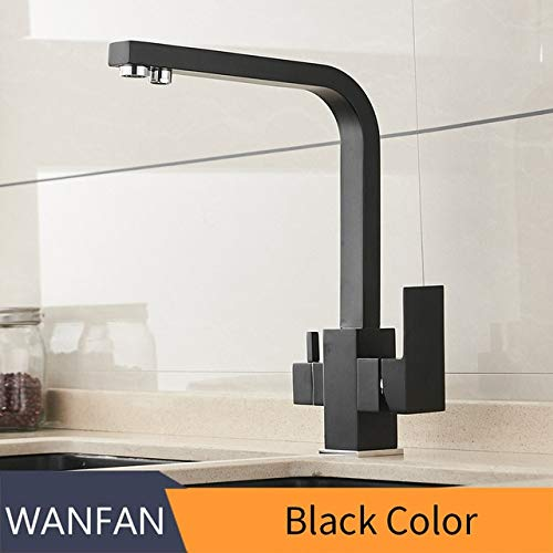 Black U-Enjoy Chandelier Taps Kitchen Waterfilter Faucets Mixer Top Quality Drinking Brass Kitchen Purify Faucet Sink Tap Water Kitchen Tap Crane for Kitchen Free Shipping [Black with Dot]