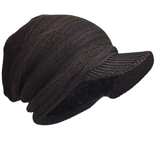 HISSHE Men Oversize Skull Slouch Beanie Large Skullcap Knit Hat (Visor-Brown)