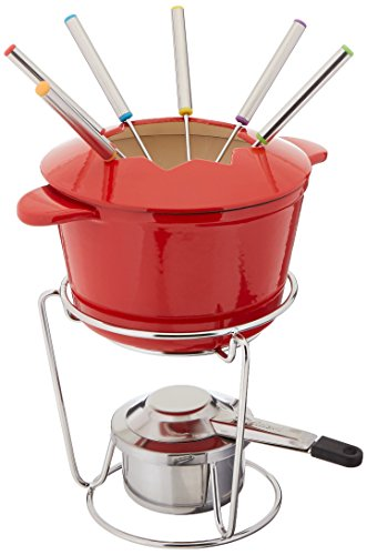 Fondue Pot - Cuisinart FP-115RS 13-Piece Cast Iron Fondue Set, Red