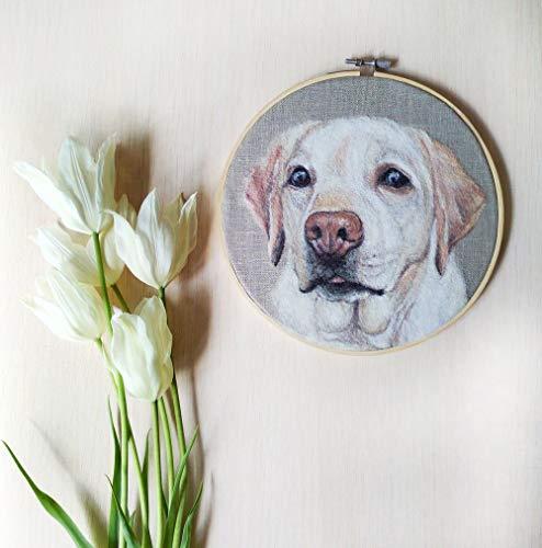 Custom Needle Felting pet Portrait, Hoop Art Dog, Pet Loss Gift, Needle Felt Painting, Needle Felted Dog, Dog Lovers Gift Frame ()