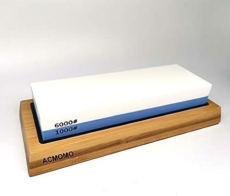 Happyroom ACMOMO Piedra de Afilar Cuchillo de Piedra Afiladores Manuales 1000/6000 Grano con Base Antideslizante de Silicona
