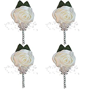 WIFELAI-A Groom Groomsmen Rhinestone Silk Rose Boutonniere pin Suit Dress Accessories Artificial Silk Flowers Fake Rose,for Wedding Bride and Groom XH0677Y (Ivory, 4) 96