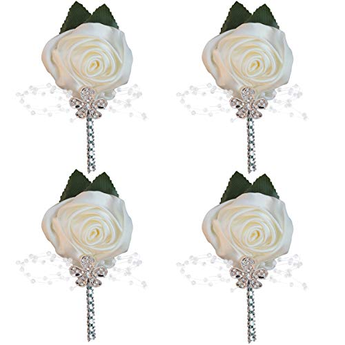 (WIFELAI-A Groom Groomsmen Rhinestone Silk Rose Boutonniere pin Suit Dress Accessories Artificial Silk Flowers Fake Rose,for Wedding Bride and Groom XH0677Y (Ivory, 4))