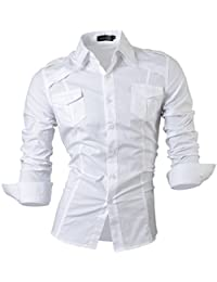 jeansian Men's Slim Fit Long Sleeves Casual Button Down Dress Shirt 8371