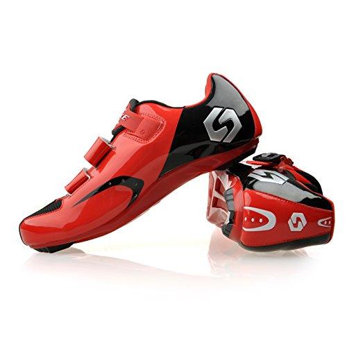 Smartodoors SIKEBIKE Damen und Herren W All-Road und MTB II Radschuhe SD-001 Schwarz + Rot für RD