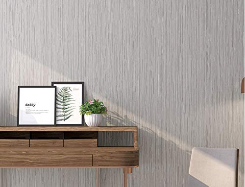 Junewind Simple Modern Plain Fine Vertical Stripes Solid Color Wallpaper Non-Woven Wallpaper Living Room Bedroom Background Wall - Light Gray (0.5310M)