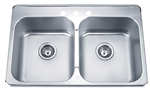 Blue Ocean 31 1/4'' KSS918 18 Gauge Stainless Steel Top Mount Kitchen Sink with FREE Strainers by Blue Ocean (Image #7)