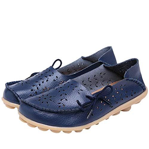 Uk Compensées coloré 8 Semelles Taille Chaussures En Et À Confort Pour Le Mocassins Des Style Travail Femmes Cuir navy Qiusa 5 2 1xO64wq7