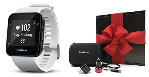 Garmin Forerunner 35 (White) GPS Running Watch GIFT BOX Bundle | Includes GPS Running Watch with Wrist-Heart Rate, PlayBetter USB Car/Wall Adapters, Protective Case | Black Gift Box