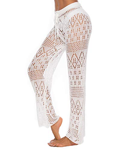Kistore Womens Swimsuit Cover Up Crochet Pants Long Loose Fit Sheer Pants Swimwear Cover Up
