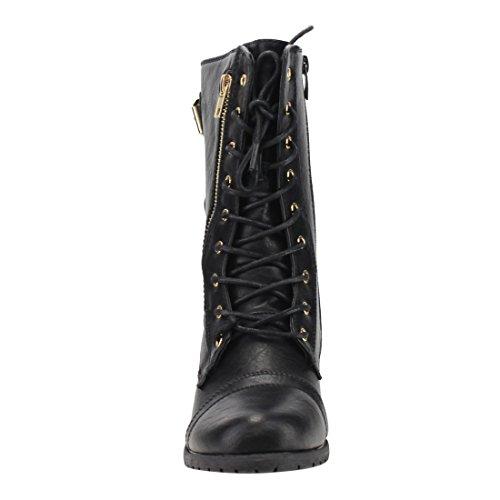Forever Kvinna Mango-71 Konstläder Militär Stil Boots Med Tjock Sula Och Spännen Svart