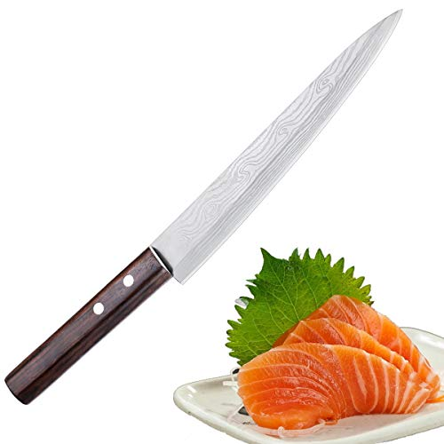 Sashimi Sushi Knife, Pro 8 Inch Chef Knife, Kitchen Knife with German High Carbon Stainless Steel & Gray Leather Wooden Handle Great for Slicing Meat, Fruits, Vegetables by Yehua (Image #9)