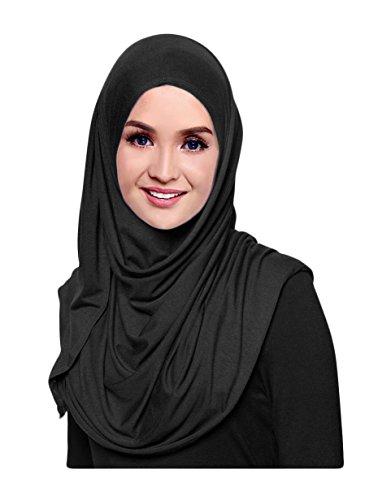 Hana's Womens Plain Instant Cotton Jersey Lightweight Hijab Scarf One Size Black