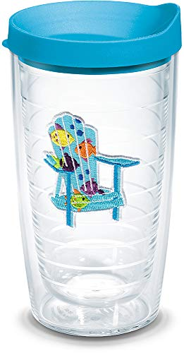 Chair Tumbler Adirondack - Tervis 1137803 Tropical Fish Adirondack Chair Tumbler with Emblem and Turquoise Lid 16oz, Clear