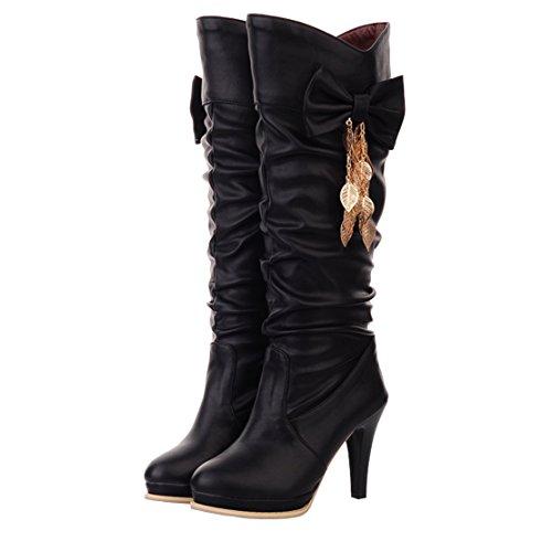 Solid Winter Toe Boots Knee Women's Bowtie Heels on Round Black AIYOUMEI Slip High Thin Autumn zvfqa4