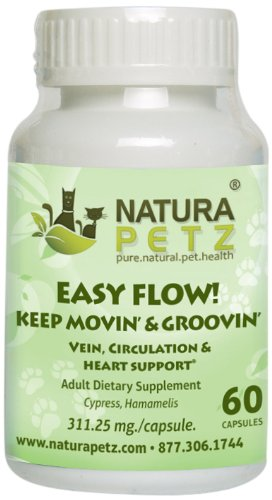 Flow 60 Capsules (Natura Petz Easy Flow! Keep Movin' and Groovin' Vein, Circulation and Heart Support for Pets, 60 Capsules, 311.25mg Per)