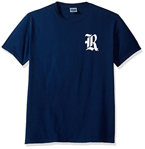 NCAA Rice Owls State Baseball Laces Short Sleeve Comfort Color T-Shirt, Medium,TrueNavy