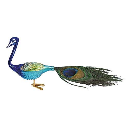 Magnificent Peacock Purple Glitter Glass Christmas Ornament (Bird Glitter Feather)