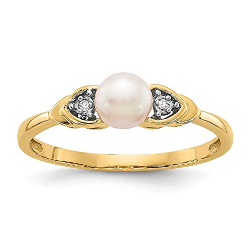 14k Yellow Gold Diamond Freshwater Cultured Pearl Band Ring Size 7.00 Set Birthstone June Fine Jewelry Gifts For Women For Her