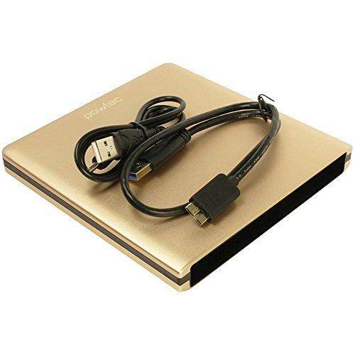 Pawtec Luxury Slim Aluminum USB 3.0 External Enclosure for Optical SATA Drive Blu-Ray DVD MAC/PC - Gold Edition