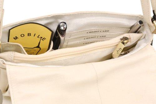 GIGI - OTHELLO 14578 - Bolso organizador con solapa - Cuero - Pequeño Cream (Blanco roto)