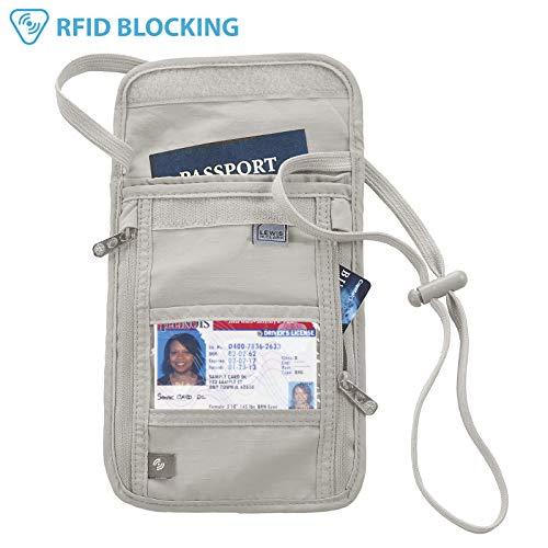 (Lewis N. Clark RFID Blocking Stash Neck Wallet, Travel Pouch + Passport Holder for Women & Men, Taupe)