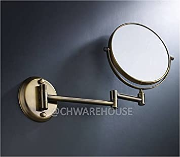 Brass 8quot Magnifying Mirror For Bath Wall Mounted Swing Arm 1