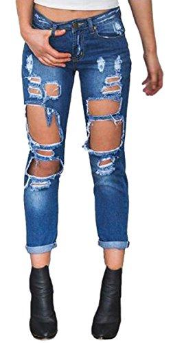 Taille Pants Holes Jeans Cowboy BLACKMYTH Lache Haute Demin Femme Pantalons Boyfriend 5nxSqRX1wp