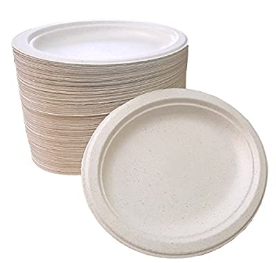 "100% compostable and biodegradable, 7.5"" x 10"" OVAL DISPOSABLE PLATES - (125 COUNT), made from bamboo & sugar cane , excellent strength"