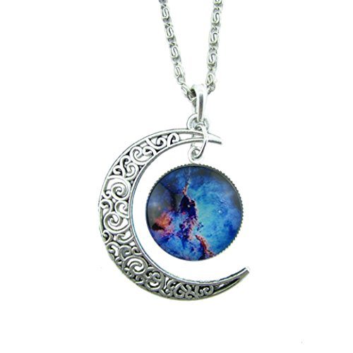 Christmas Necklace Gift! AMA(TM) Women Charming Retro Moon Time Pendant Sweater Chain Necklace Jewelry (Blue)