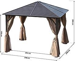 Outsunny Gazebo Pabellón Exterior Jardín 3x3m Carpa Cenador Marco de Aluminio con Pared Lateral y Mosquitero para Fiesta Eventos: Amazon.es: Jardín