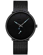 Herren Quarz Uhren Minimalistische Analoganzeige Armbanduhr mit Milanese Mesh Edelstahl