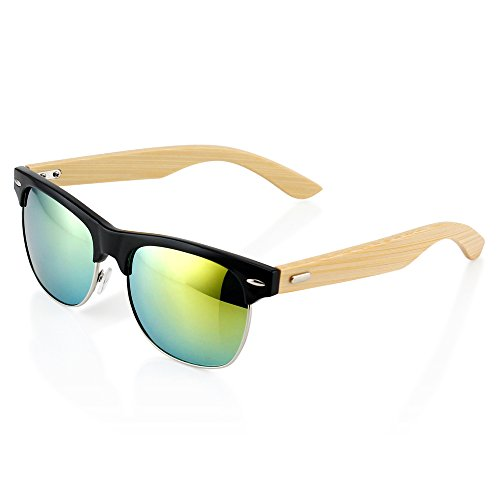 Oct17 Premium Fashion Stylish Half Frame Classic Retro Horn Rimmed Vintage Wood Wooden Bamboo Sunglasses Black Frame With Gold Lens