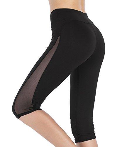 Imido Women's Yoga Capri Pants Sport Tights Workout Running Leggings with Side Pocket (M, Mesh Capri ()