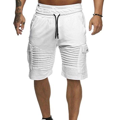 136eae72547 Men Fashion Shorts Swim Trunks Breathable Beach Surfing Running Sport Pants  (White, XXX-Large)