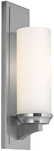 Feiss WB1723BS Amalia Vanity Wall Sconce Bathroom, Brushed Steel 1-Light 5 W x 16 H 75 Watts, 0