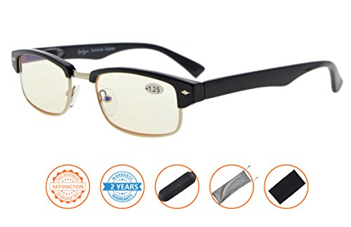 UV Protection,Anti Blue Rays,Reduce Eyestrain,Half-Rim Computer Reading Glasses(Black,Amber Tinted Lenses) - Glasses Half Rim Prescription
