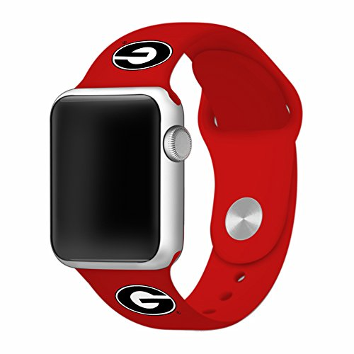 University of Georgia Bulldogs 38mm Silicone Sport Band fits Apple Watch - BAND ONLY (38mm Red) (Bulldogs Sport Tech Steel Watch)