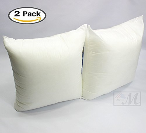 Set of 2 - 16 X 16 Premium Hypoallergenic Stuffer Pillow Insert Sham Square Form Polyester, Standard / White - MADE IN USA - Standard Square Pillow