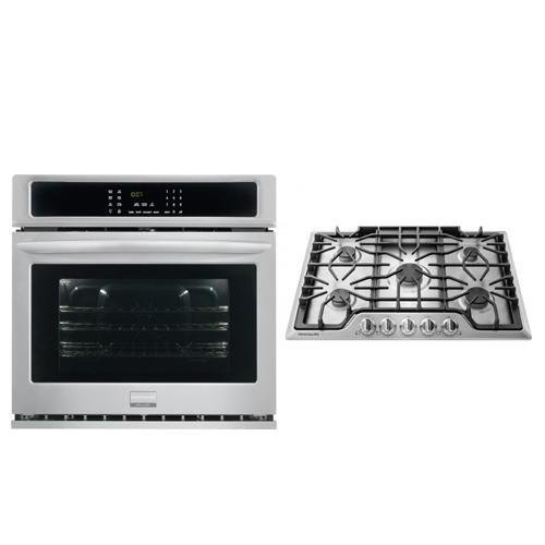 Frigidaire Gallery Series 2 Piece Stainless Steel Kitchen Package With FGGC3047QS 30″ Gas Sealed Burner Style Cooktop and FGEW3065PF 30″ Electric Single Wall Oven